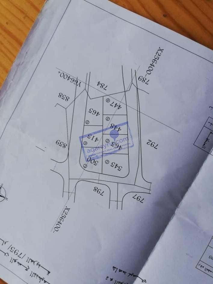 للبيع مقسم ارض طابو اخضر مساحة 448 متر